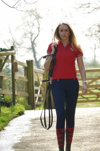 Lucy Fallen at home wearing the Navy ginestra breeches with the red piping